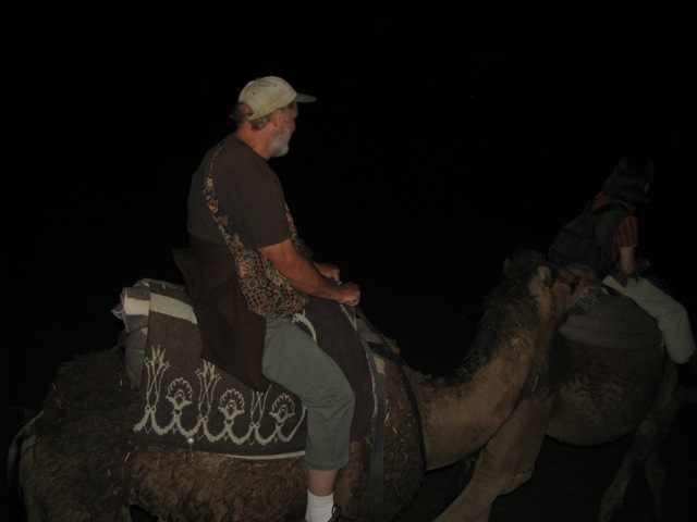 Our camel ride under the stars to our desert camp