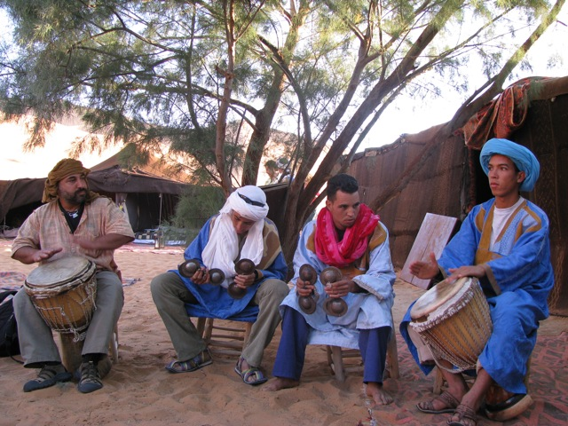 Dror drumming with the Moroccans at camp