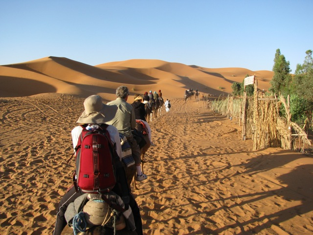 Leaving camp on our camels