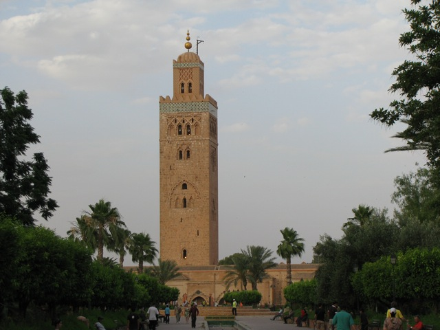 The large mosque in the center of Marrakesh