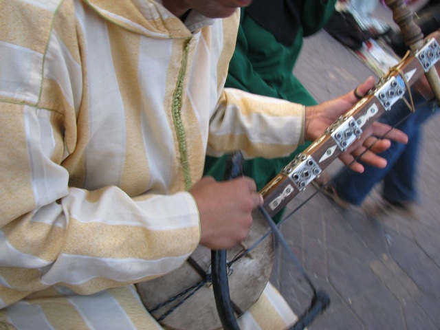 "One of the many musicians in ""Jemaa el Fna"""