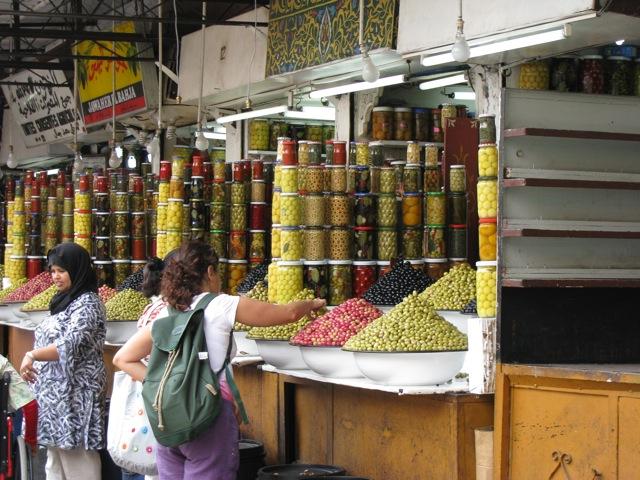 An olive dealer in Marrakesh