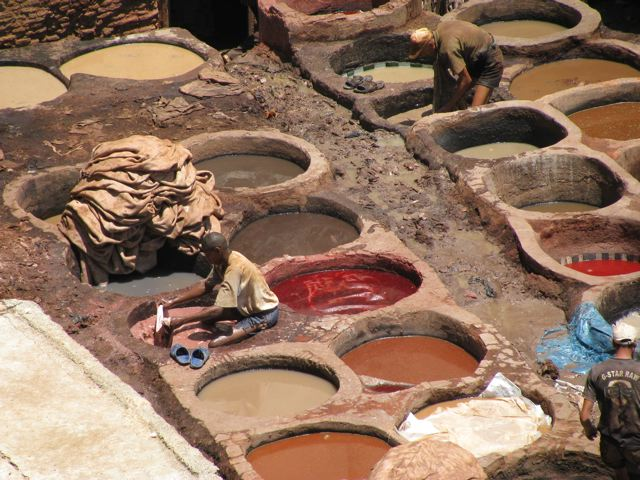 Working in the tannery in Fes