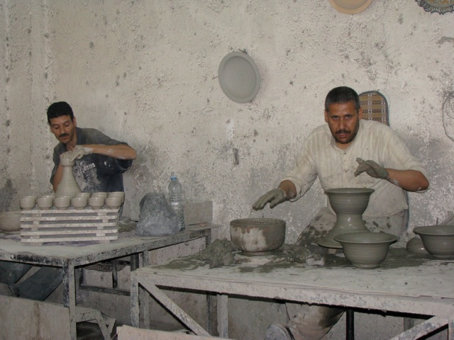 Workers at the ceramics factory we visited in Fes