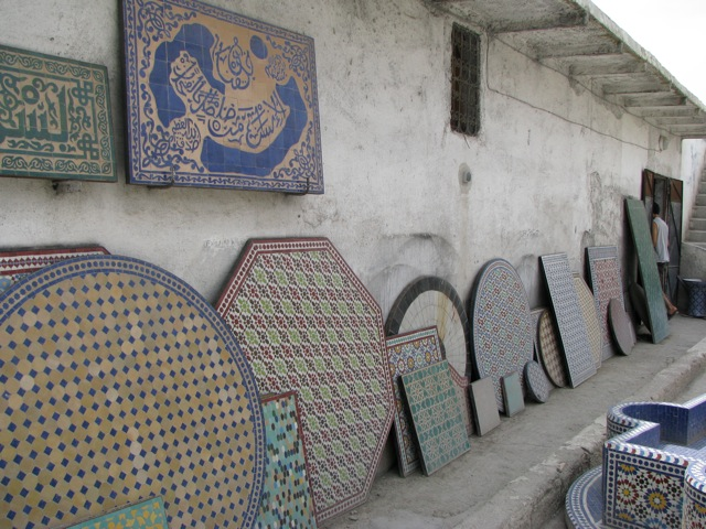 Some of the nice mosaic table tops they make in Fes