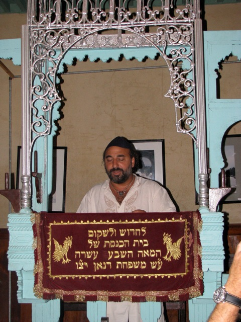 Dror chanting at the old Jewish Synagogue in Fes
