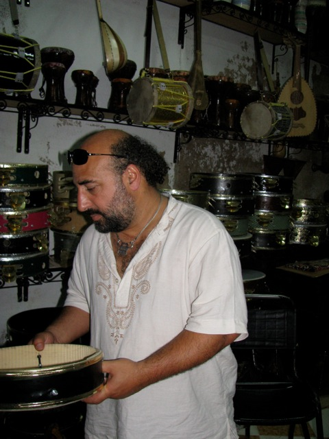 Dror visiting a drum store in Fes
