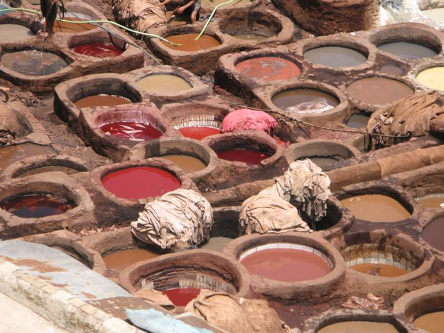 A closer look at the vats at the tannery in Fes