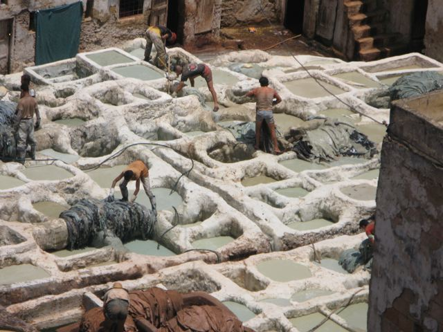 Hard work at the tannery in Fes