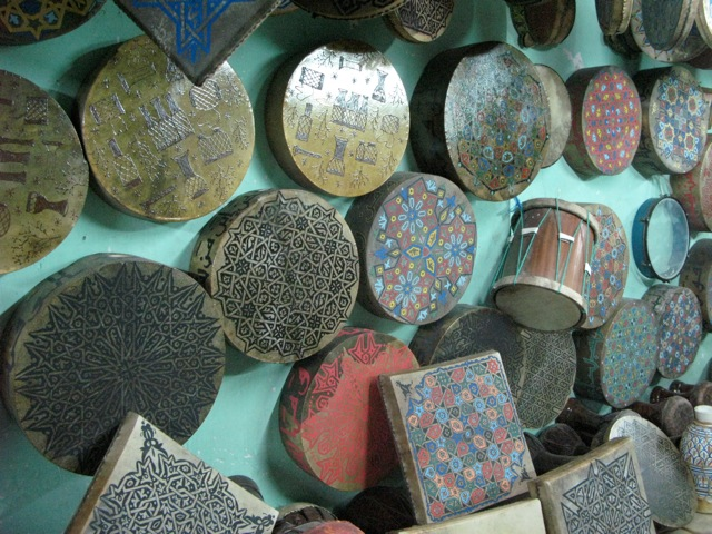 Lots of hand-painted drums at a drum store in Fes